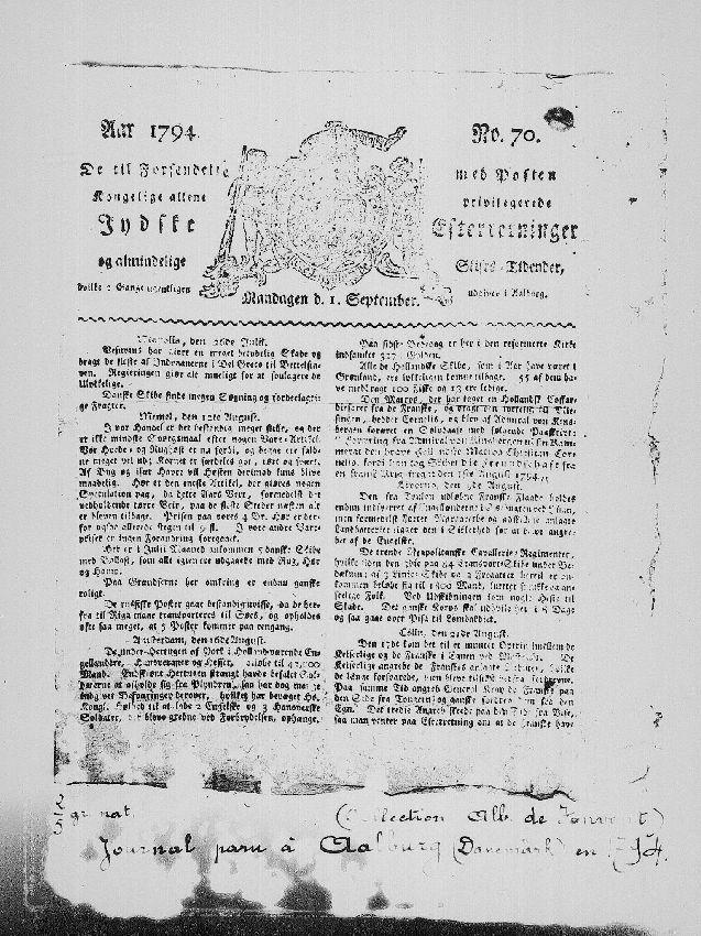 A100852 Journal De til Forsendetie met Posten - N° 70 du 1 septembre 1794