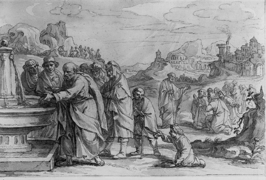B142672 De profeet Elisa maakt het water rond Jericho gezond