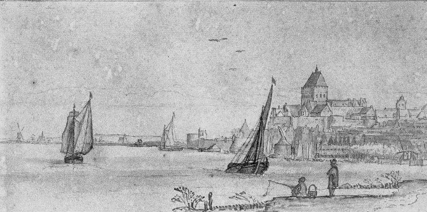 B154534 Zicht vanuit Lent op Nijmegen met de Valkhofburcht (Nederland)