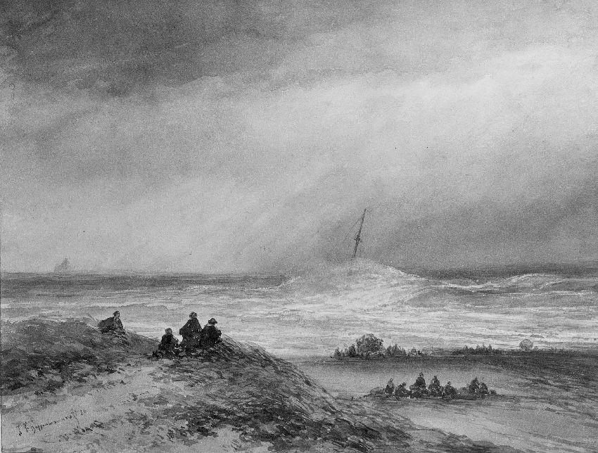 B173304 Marinestuk: zeilschip overspoeld door een golf op onstuimige zee