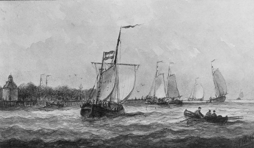 B173329 Marinestuk: zeilschepen voor de kust