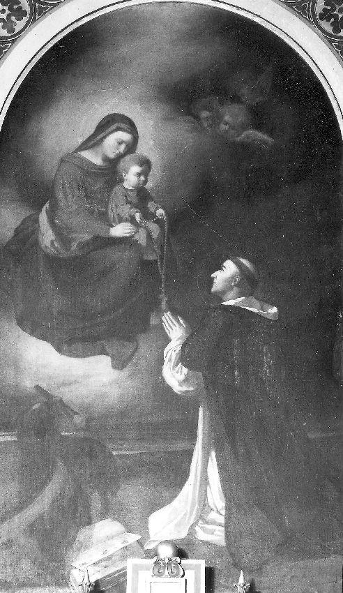 M023012 O.L.Vrouw met kind schenkt rozenkrans aan H.Dominicus Guzman
