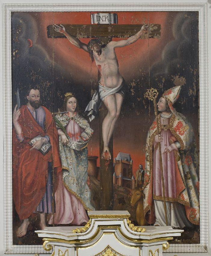 X048838 Christ en croix avec sainte Lucie, saint Hubert et saint Barthélemy